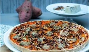 Tarte aux patates douces, noix et gorgonzola