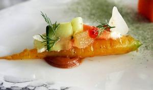Saumon de Norvège mariné croc'carotte et crème mentholée