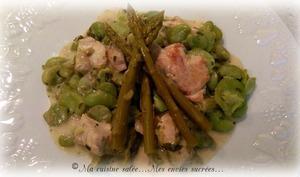 Aiguillettes de poulet, fèves et asperges