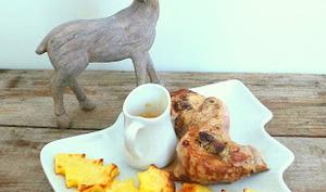 Tournedos de filet mignon farcis au foie gras et sauce à la chicorée Leroux et petites pommes de terre de Noël