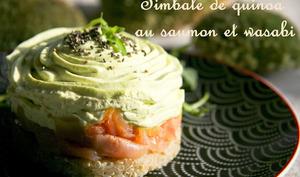 Timballe de quinoa au saumon et wasabi