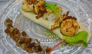Saint Jacques snackées sur purée de châtaignes et panais, girolles, chips de panais, châtaignes croustillantes