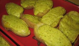 Pommes de terre farcies au fromage blanc, comté, échalottes et ciboulette
