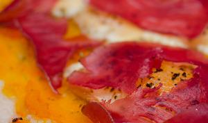 Pumpkin pizza à la raclette et à la viande des grisons