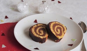 Bûche de Noël chocolat au lait et fruit de la passion