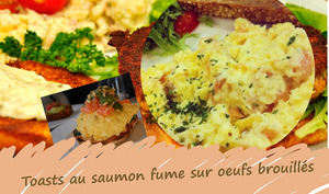 Canapés de saumon fumé sur oeufs brouillés