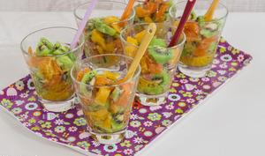 Verrine kiwis, oranges et truite fumée