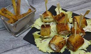Croques rolls chèvre et origan, tomate confite et mozzarella et bâtonnets croustillants aux herbes