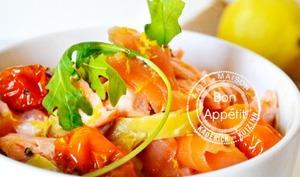 Tagliatelles fraîches au safran et deux saumons