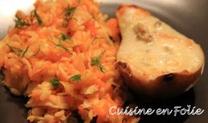 Salade de carottes et fenouils aux agrumes, poires rôties au Gorgonzola