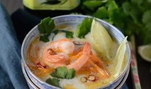 Soupe Thaï aux crevettes, huile d'olive vierge extra biologique