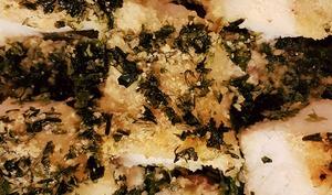 Filets de cabillaud sous leur croûte d'algues
