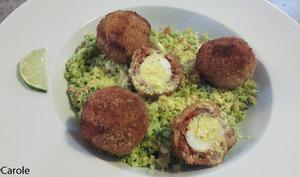 Couscous de chou-fleur et oeufs de cailles en scotch eggs