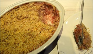 Brandade rose et son crumble de pain au citron