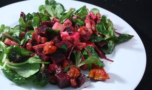 Salade betteraves, potimarron, Beaufort et lardons
