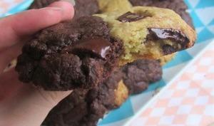 Cookies bicolores aux pépites de chocolat et à l'huile de coco