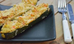Courgettes farcies au quinoa et saumon fumé