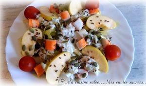 Salade endives tzatziki pommes surimi