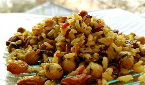 Riz aux pois chiches et raisins secs