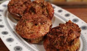 Muffins poireaux, champignons, jambon & bleu