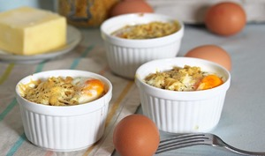 Oeuf cocotte en coquillettes