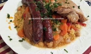 Couscous royal agneau, poulet, merguez, légumes au cookeo