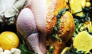 Poulet au citron confit, blette et colombo