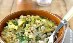 Gratin de crozets aux choux de Bruxelles et tofu mariné à la japonaise