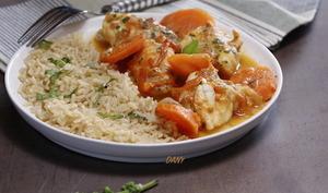 Filets de lotte carottes tomates et basilic