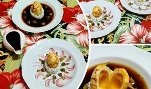 Chazuké au thé noir et oeuf marbré