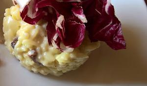 Risotto, radicchio, raisins secs, roquefort