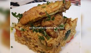 Ailes de poulet aux épices colombo et son riz et petits légumes
