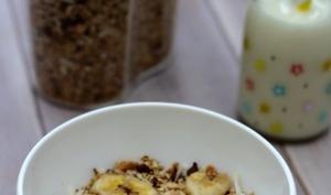 Muesli maison au chocolat, bananes et noix de coco