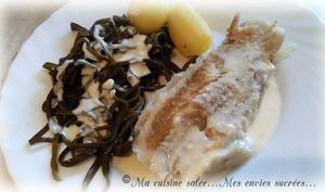 Filet de poisson à la crème et ses haricots de la mer