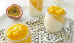 Panna cotta exotique mangue et fruits de la passion