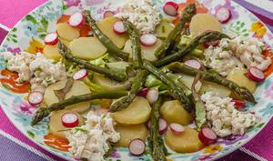 Salade de merlu aux pommes de terre, asperges et radis
