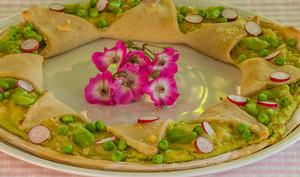 Pizza à la crème de fèves et ricotta