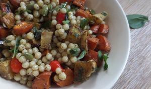 Salade de couscous isrealien aux carottes et panais rotis