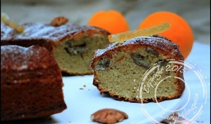 Gâteau à la noix de pécan, orange confite et miel