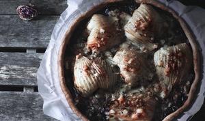 Tarte au fenouil, confit d'oignons rouges et bleu de brebis