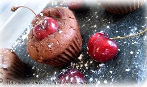 Muffins chocolat, cerise, huile d'olive