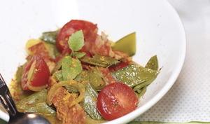 Ragoût de mange tout au chorizo et poudre de safran
