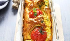 Cake au poulet, curry & petits-pois