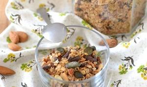 Granola amandes, chocolat et graines de courge