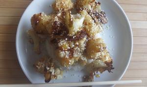 Chou fleur roti, sauce au miel, ail et gingembre