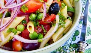 Pennes en salade, tomates-petits pois