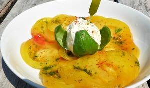 Carpaccio de tomate ananas, glace chèvre basilic