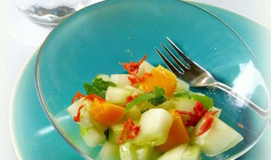 Salade de concombre, mangue et chorizo