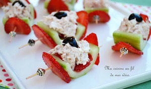 Barquettes de concombre aux fraises et rillettes de thon