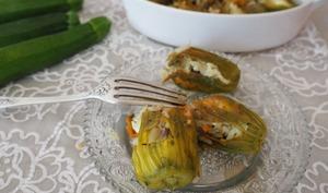 Fleurs de courgettes farcies à la crétoise – végétarienne